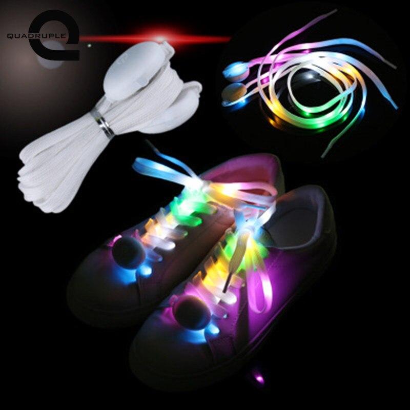 Четверка 1 пара 120 см 10 светодиодный витые бусины светящиеся шнурки флэш светящийся строки свет шнурки открытый вечерние комплект шнурков