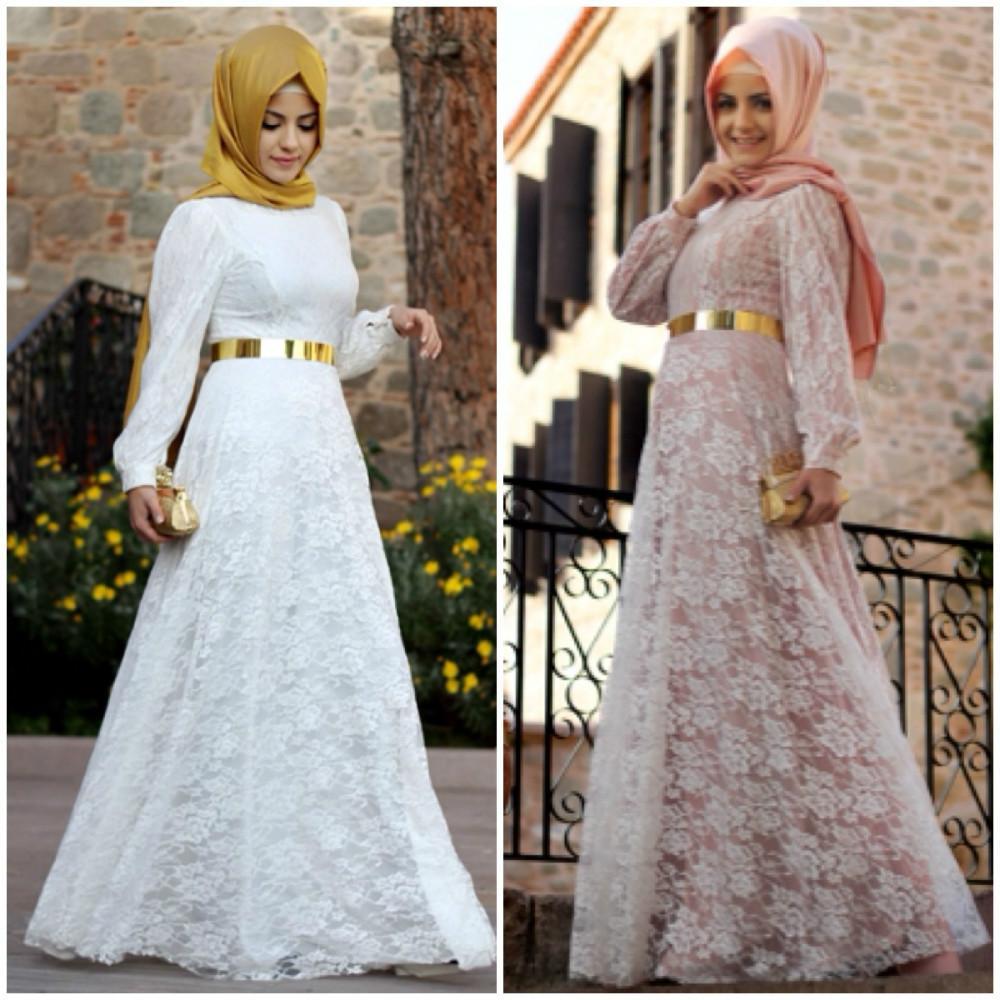 New 2017 White Lace Long Sleeve Muslim Design Kaftan Dubai