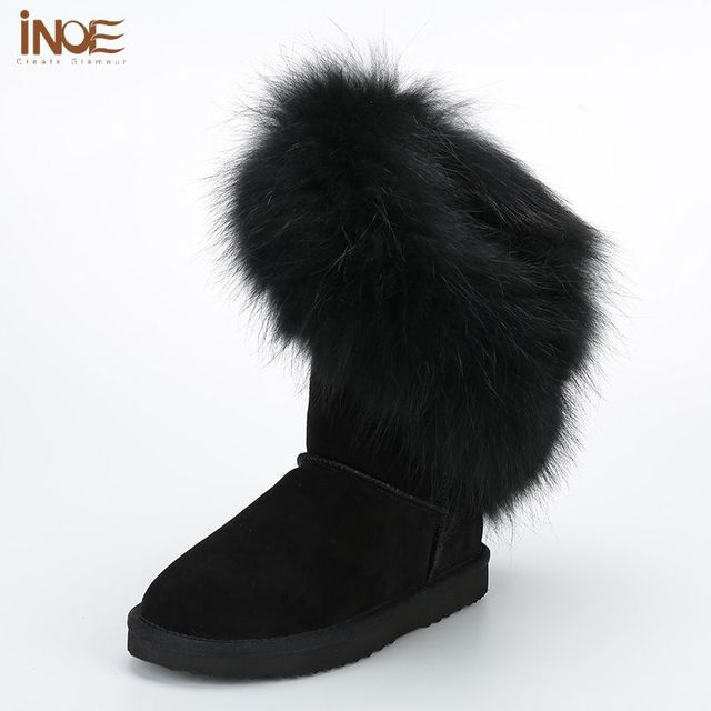 a5d91e1a7a6 INOE Real Fox Fur Snow Boots Women Genuine Leather Winter Knee High Boots Suede  Black Australia Boots Sexy Ladies Tall Flat Shoe