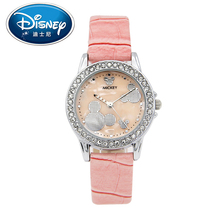 Disney women Kids Watch children Fashion Cool Cute Quartz Wristwatches Girls Waterproof Mickey Mouse Leather Strap Clock