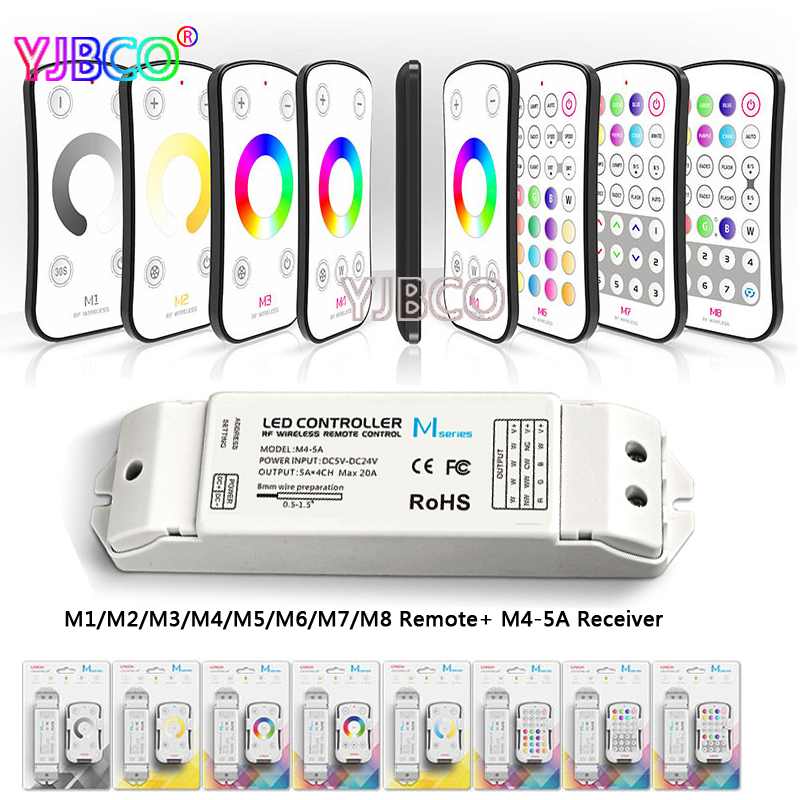 M1 M2 M3 M4 M5 M6 M7 M8 single color CT RGB RF Wireless Remote M4-5A CV Constant Voltage Receiver LED dimmer controller m3 m4 5a m3 touch rf remote with m4 5a cv receiver led dimmer controller dc5v dc24v input 5a 4ch max 20a output