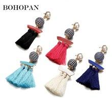Bohemia Earrings Women Simple Stripe Ball Design Long Tassel Earrings Female Fashion Jewelry Pearl Drop Earrings brincos 2018 gray black long stripe cloth drop earrings