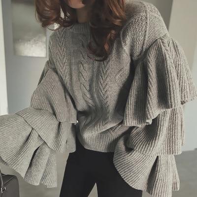 SMTHMA 2017  winter South Korean women Retro elegant twist sweater