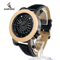 Bobo bird m07 antiguo arte cinético reloj mecánico marca de lujo para hombres con esqueleto hueco-hacia fuera diseño impermeable con madera caja