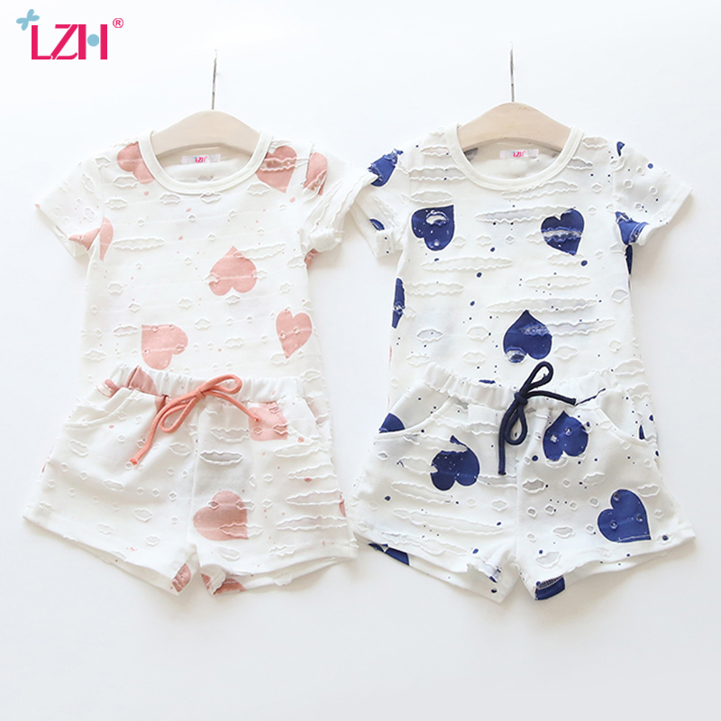 LZH Children Clothes 2017 Summer Kids Girls Clothes Set T-shirt+Shorts 2pcs Outfits Baby Christmas Suit For Girls Clothing Sets