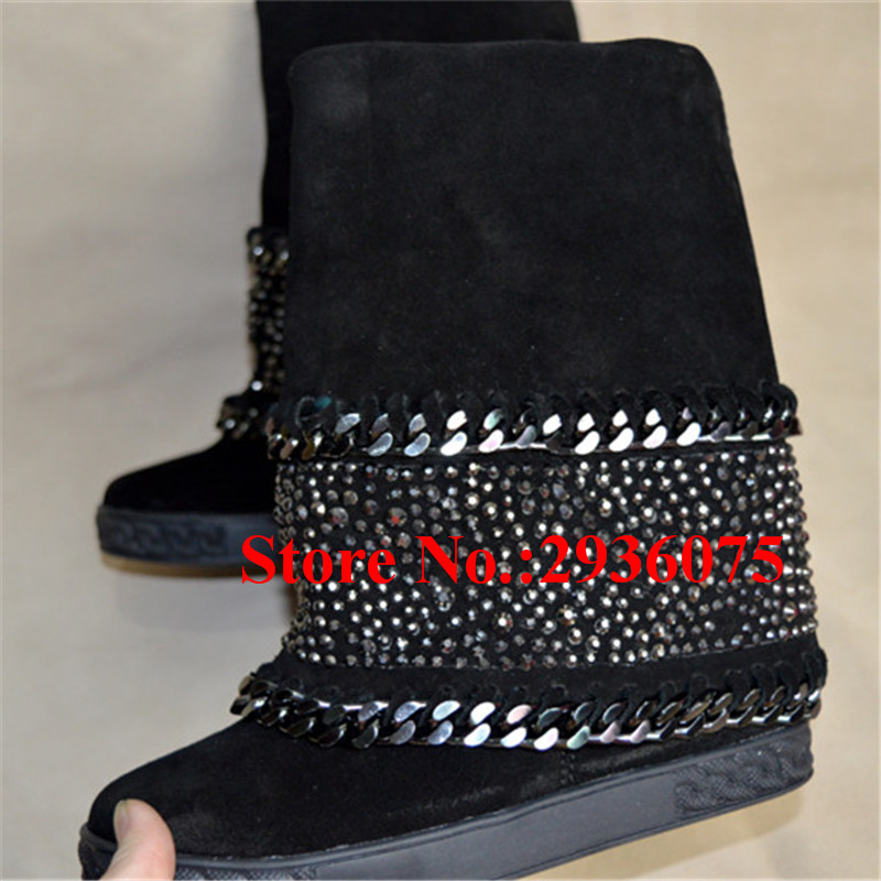 где купить Ladies Black Suede Leather Crystal Studded Embellished 8CM Concealed Wedges Ankle Boots Chain Platform Boots Women Shoes Woman по лучшей цене