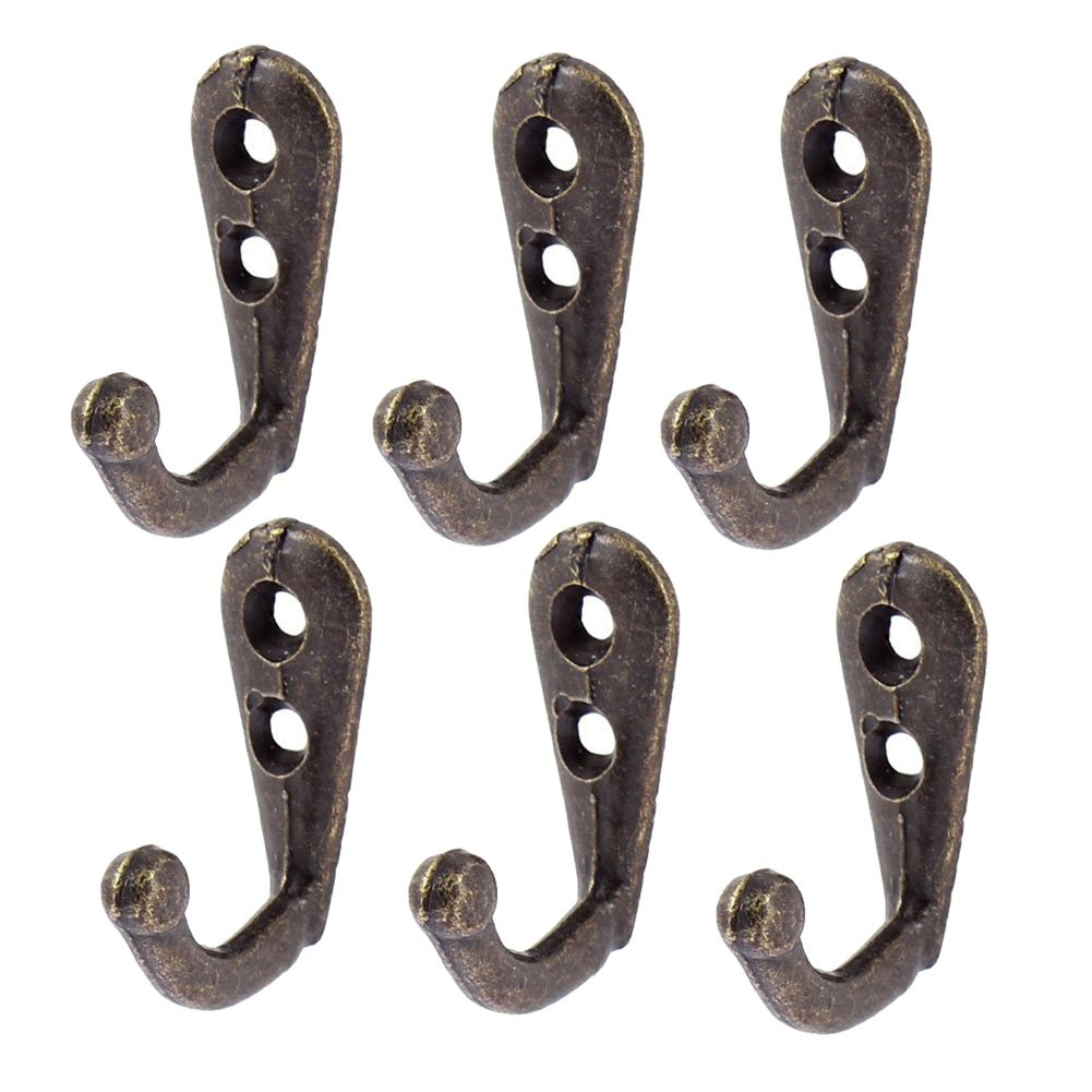 6x Wardrobe Retro Style Wall Mounted Clothes Coat Hat Hanger Hook Bronze