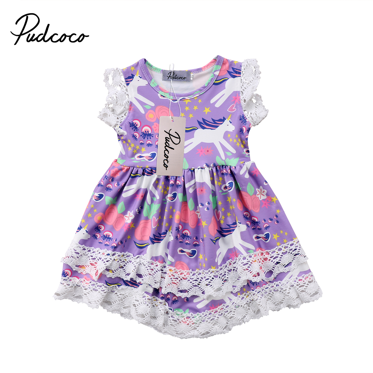 Toddler Kids Baby Girl Unicorn Dress Princess Party Pageant Lace Dresses Sleeveless Sundress 1-6T