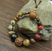 Модные ювелирные изделия в винтажном стиле, естественное ювелирное изделие, браслет будды с подвесками из драгоценных камней, деревянные бусины