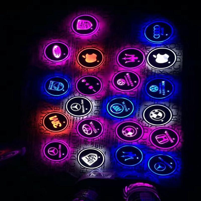 Automotive LED light water mat mat anti-slip mat door groove car interior decoration atmosphere light 2pcs/set jungle print door mat