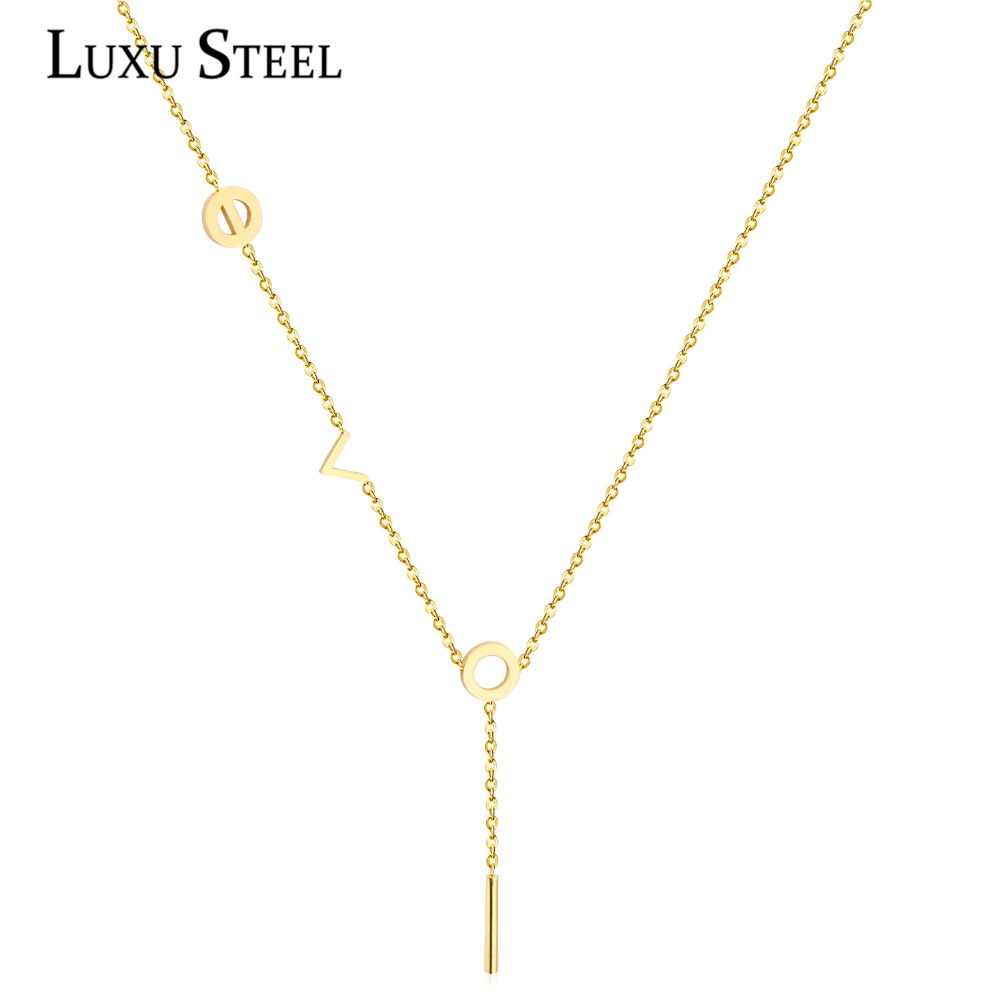 LUXUSTEEL Spring Round Circle Love Pendant Necklaces Stainless Steel Gold/Silver/Rose Gold Color Tassel Necklace Women Collars