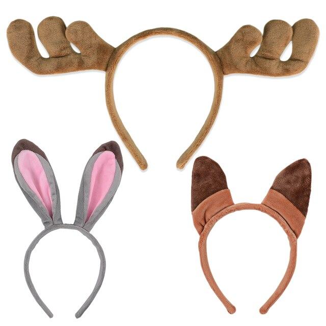 halloween party cosplay judy nick elk antlers cute kawaii fox rabbit ear soft headband accessories baby