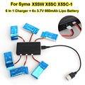 Бесплатная доставка! 6 x 3.7 В 850 мАч батарея + 6in1 зарядное устройство для Syma X5SW X5SC RC беспилотный Quadcopter
