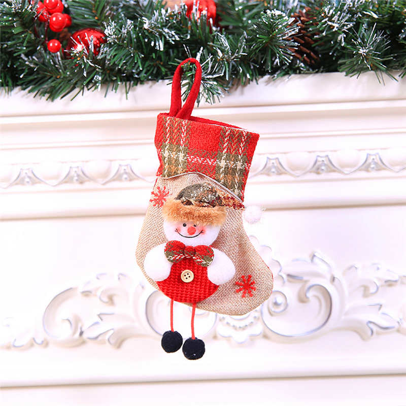 Mini Christmas Stockings Socks Santa Claus Candy Gift Bag Christmas Decorations for Home Festival Party Ornaments  #2o22 (3)