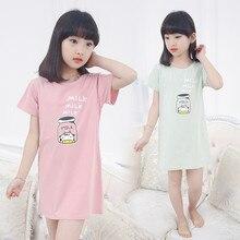 Girls Pajamas Short Sleeves Letter Print Homewear Clothings Summer 2018 Children Sleepwear Nightgown Pajamas Kids 4T-11T S86109A