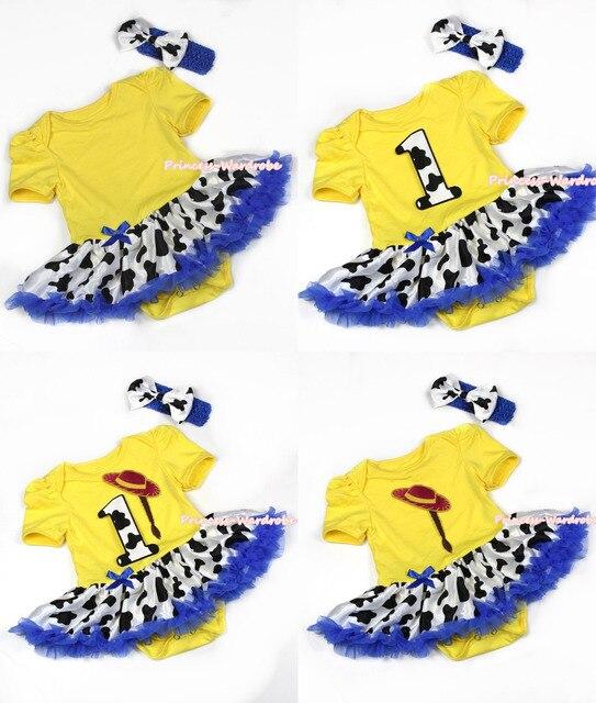 Yellow Bodysuit Jumpsuit Navy Bule Milk Cow Patterns Pettiskirt Baby Dress Headband NB-18M MAJS0073