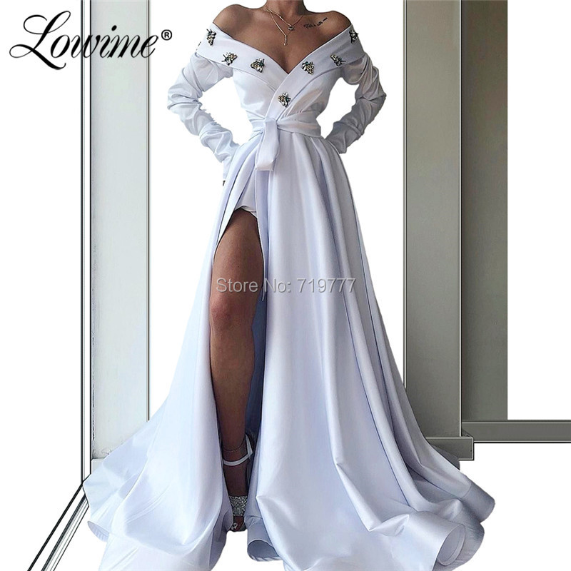 White Beaded   Prom     Dresses   Off The Shoulder Long Satin Party Gowns With High Split Side Sexy African Evening   Dress   Robe Soiree