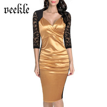 VEEKLE Summer Office Elegant Satin Dress Bridesmaid Ruffles Lace Sleeve And Back Bodycon Gold Red Purple See Through Hollow Out