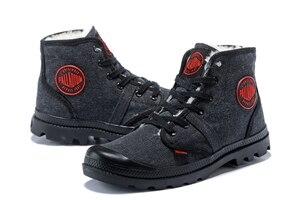 Image 2 - PALLADIUM Pampa płótno pluszowe buty zimowe ogrzewanie mężczyźni Botas kowbojskie botki moda w stylu Vintage płótno obuwie rozmiar 39 45