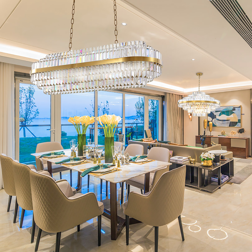 US $688.8 18% OFF|New modern chandelier lighting for living room luxury  dining room gold chain chandeliers design kitchen island cristal lustre-in  ...