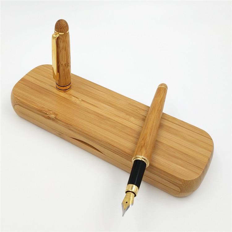 QSHOIC 100pcs/set DHL Shipping Bamboo Foountain Pen Set ECO Bamboo Pen with Bamboo Pen Advertising Pen Can Laser Logo Wholesale bamboo dinner set