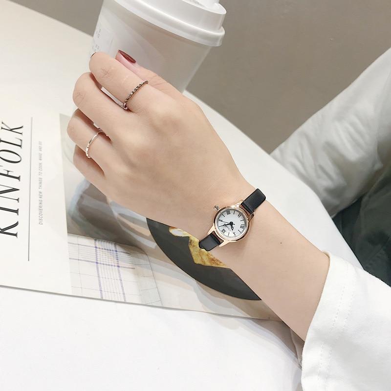 Luxury women s fashion exquisite roma retro watches elegant ladies design small wristwatches vintage leather female