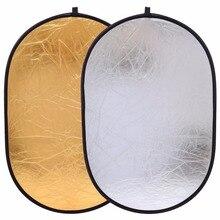 CY 90x120 cm 2in1 Goud en Zilver Fotostudio Reflector Houvast Multi Opvouwbare Draagbare Disc Light Reflector voor fotografie