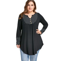CharMma 2017 New 5XL Plus Size Women Fashion Loose Dot Polka Curved Tunic Top Autumn Long