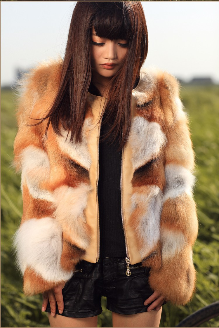 Genuine real natural red fox fur coat with leather font b women b font silver fox