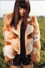 Genuine real natural red fox fur coat with leather women silver fox fur coat winter fashion jacket plus size EMS Free shipping
