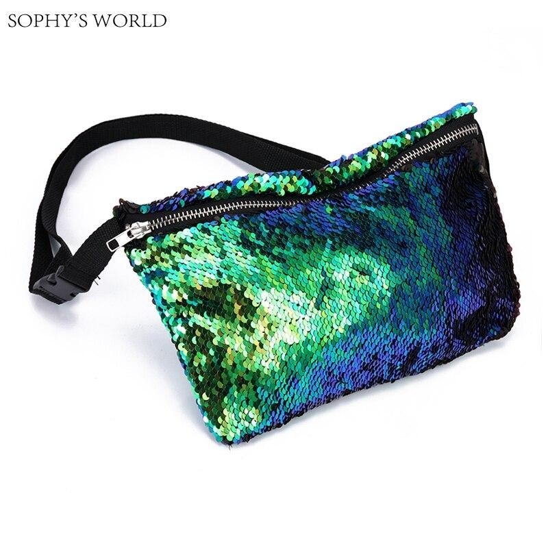 Sequins Handbags Women Waist Pack Designer Chest Bag Fanny Pack Women's Waist Bag Ladies Women's Purse Crossbody Bag