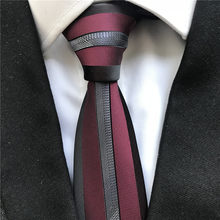 Unique Designer Men's Skinny Ties Fashion Panel Bordered Necktie Burgundy with Silver Stripe in Middle(China)