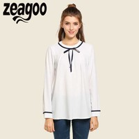Zeagoo Elegant Blouse 2017 Women Casual O Neck Long Sleeve Lace Up Tops Spring Autumn Loose