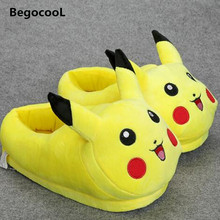 Pikachu Slippers Cartoon Plush Slipper With Full Expression Women Slippers Mens Emoji Home Slippers Winter House