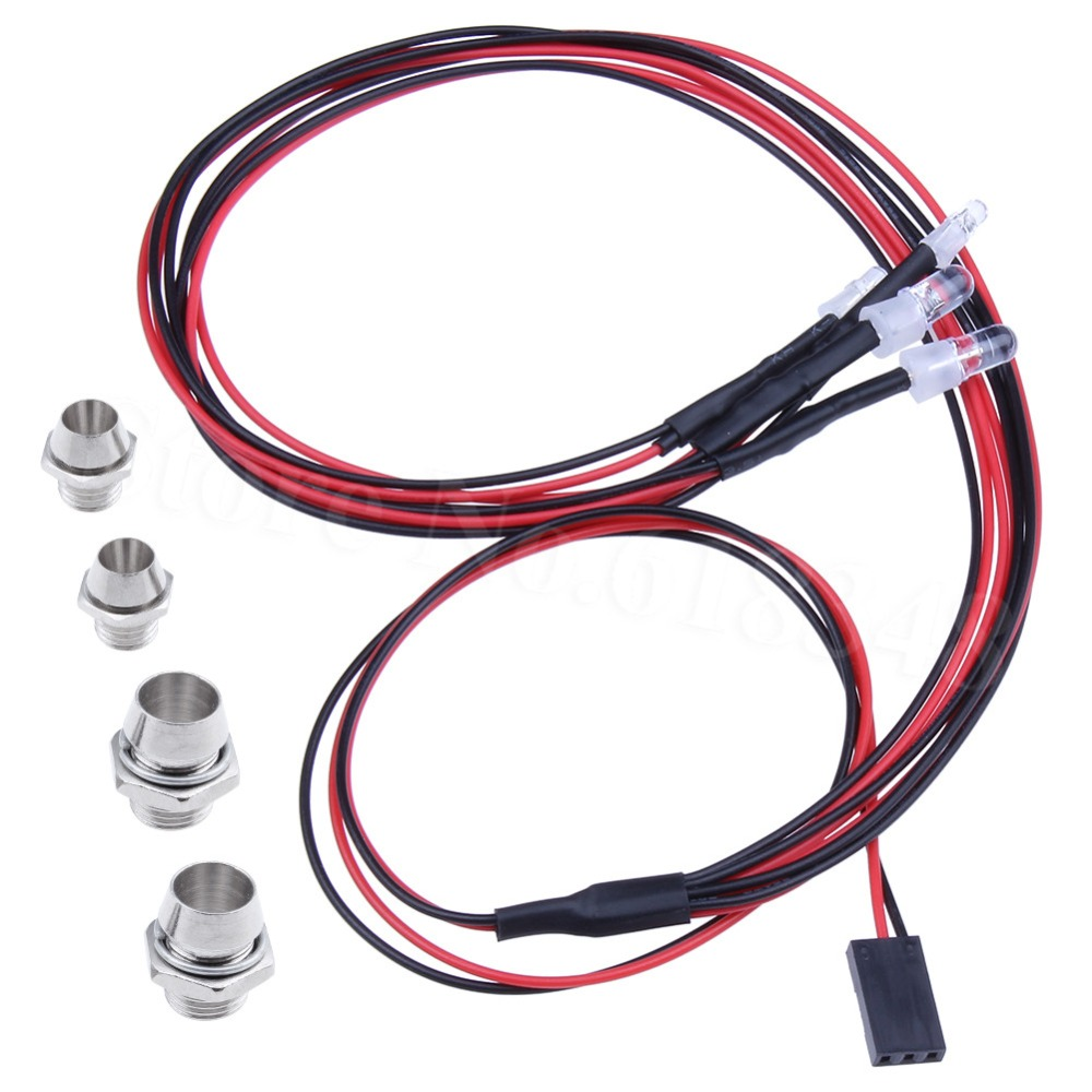 1 Set 2x5mm Putih & 2x3mm Red LED Light System 4P untuk lampu 1/10 Drift Night headlamps RC