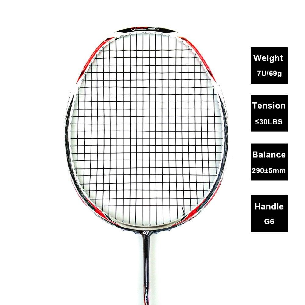 LOKI N90III Professionnel De Badminton De Carbone Raquette 7U 67g 30 LBS Enfilées Raquette De Badminton Équipement De Sport avec Poignées