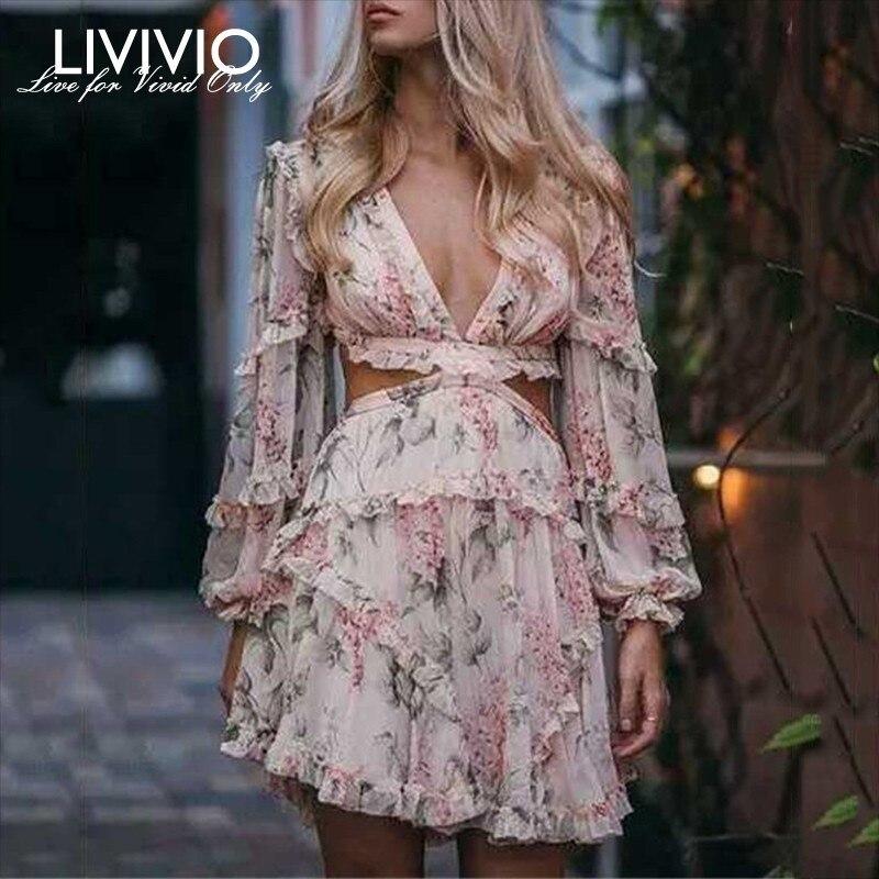 LIVIVIO Sexy Print Dress Female Chiffon V Neck Hollow Out Lantern Sleeve High Waist Mini