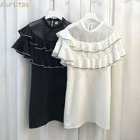 2017 New Time-limited Polyester Mesh Cute Solid Robe Summer Dress Summer Dress Female Double Set Auger Net Yarn Splicing Sexy