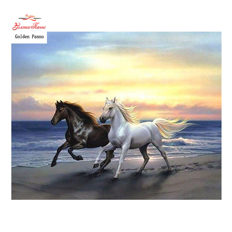 Golden Panno,Needlework,DIY DMC 14CT Cross Stitch Kit,Two Horses Counted Pattern Embroidery Cross-stitch Painting 0402