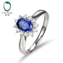 Caimao натуральный овальной формы сапфир SI1 G-H Halo АЛМАЗ 14 К Белое золото обручение обручальное кольцо