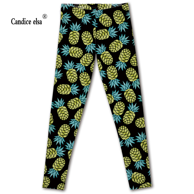 CANDICE ELSA leggings women workout female pants elastic fitness legging ananas printed black trousers plus size drop shipping
