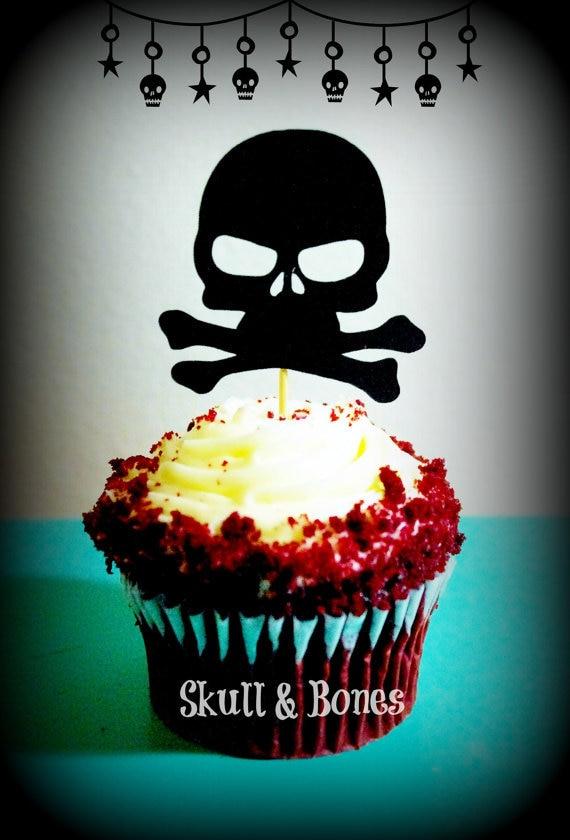 Skull N Bones Cupcake Toppers Halloween Appetizer Pick Party Baby