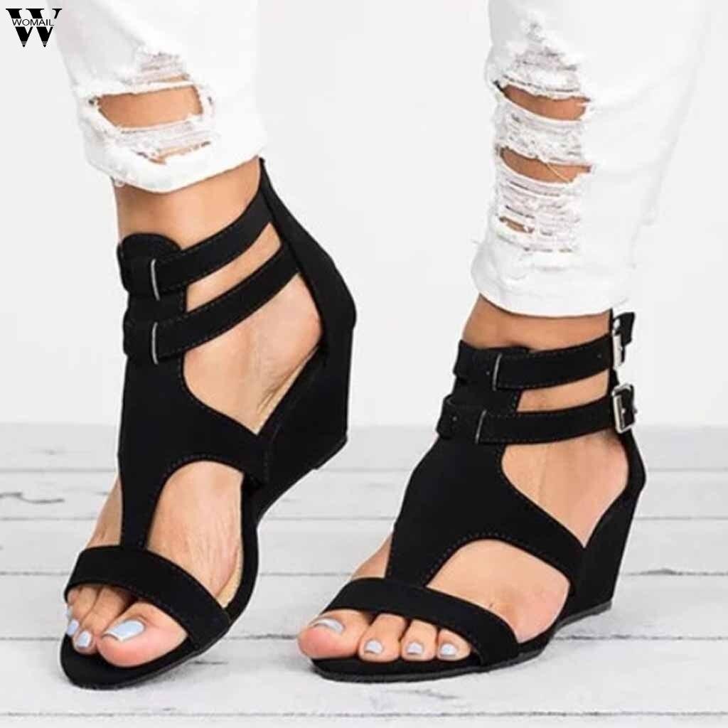 Frauen Schuhe Weichen Frauen Casual Sommer Schuhe Weibliche Zip Plus Größe 35-43 Sandalen Strand Schuhe Frauen Jan11 Frauen Sandalen