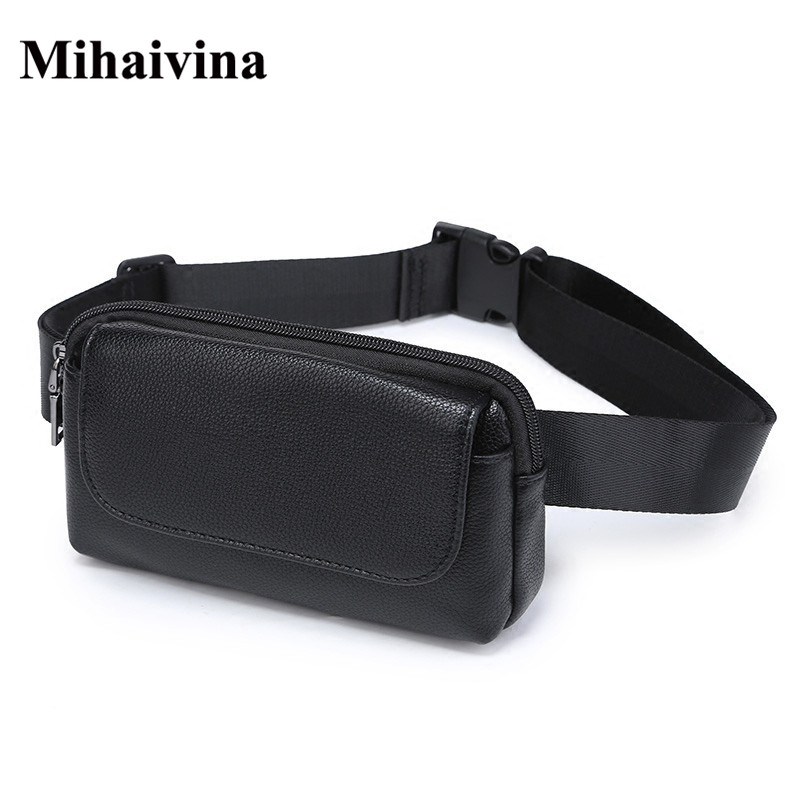 все цены на Wholesale Fashion Women Waist Bag Black Ladies PU Leather Belt Travel Waist Packs Pouch Phone Bag Small bags Mihaivina