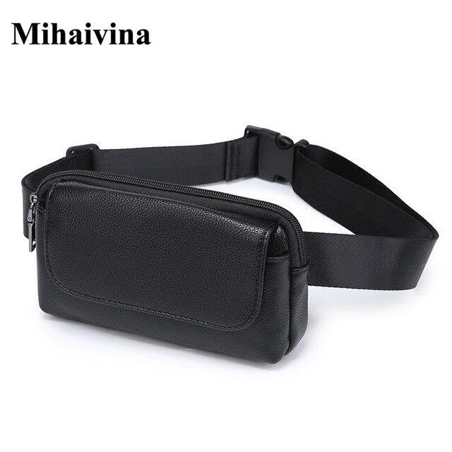 4eb4f94bdd3fb Wholesale Fashion Women Waist Bag Black Ladies PU Leather Belt Travel Waist  Packs Pouch Phone Bag Small bags Mihaivina