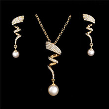 Vintage Imitation Pearl necklace Gold jewelry set for women Clear Crystal Elegant Party Gift Fashion Costume Jewelry Sets(China)