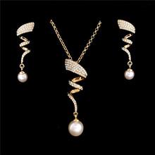 Vintage imitacja perła naszyjnik złoty zestaw biżuterii dla kobiet jasne kryształ elegancki party prezent moda kostium Biżuteria zestawy tanie tanio Jewelry Sets Trendy Roślin Stop cynkowy ZOSHI Strona Simulated-pearl Necklace Earrings F397 necklace+earrings 44 5 cm pearl jewelry sets gold chain