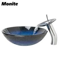 Bule Kitchen Single Handles Tap Bathroom Sink Washbasin Tempered Glass Lavatory Bath Sink Set Torneira Mixer