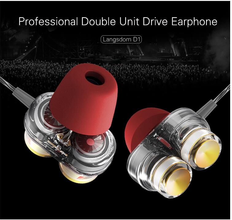New Langsdom D1 In-ear Earphones with Microphone Dual Driver Phone Earphone Headset for Phone Headsets fone de ouvido mp3 xiaomi цена и фото