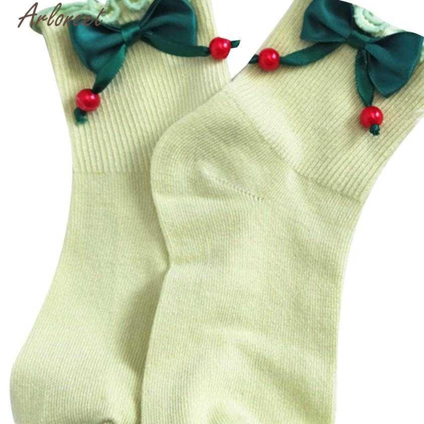 2017 Nuevo 1 par calcetines de bebé niña oreja arco calcetines de algodón lindo bebé sin hueso calcetines de alta calidad